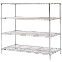 China Stable Leveling Feet  Commercial Wire Shelving  /  Matal Silver Rack In Shopping Mall on sale
