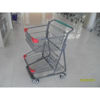 Two Deck Basket  Shopping Trolley Cart With Grey Powder Coating Surface Treatment Manufactures
