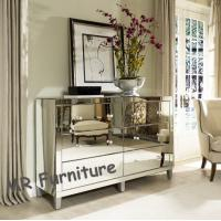 Full Glass Mirrored Server Buffet , Antique Bedroom Mirrored Glass Sideboard Manufactures