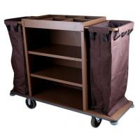 """6"""" PP Wheels Iron Paint Brown Room Service Equipments , Hotel 3 - Tier  Housekeeping Cart Manufactures"""