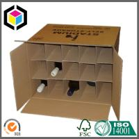 Double Wall Kraft Wine Packaging Box; Black Logo Print Corrugated Box with Dividers Manufactures