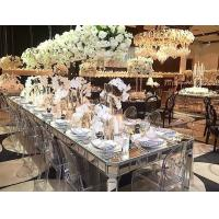 Aisles Wedding Silver Mirrored Dining Table Rectangle Type Strong Struture Manufactures