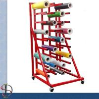 Heavy-duty vinyl roll display rack with 36 arms / metal display stand /  Roll display rack with casters Manufactures