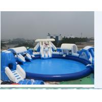 Blue Sea Floating Inflatable Water Park Digital Printing Logo With Air Pump Manufactures
