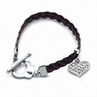 Chrome-plated Bracelet, Made of Zinc Alloy with Charms, OEM Orders are Welcome Manufactures
