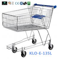 4 Wheeled 135L Metal Wire UK Shopping Cart With Baby Seat / Supermarket Equipment Manufactures
