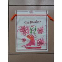 Quality Small Recyclable White Plastic Drawstring Bags with Flower Printed For Underwear for sale
