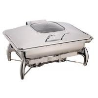 Buffet Stainless Steel Cookwares Mechanical Hinge Induction Chafing Dish Full Size Food Pan 9.0Ltr Glass Window Lid Manufactures