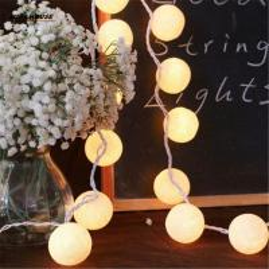 Balls/pcs Vintage/sweet Pastel tone / pure white Cotton Ball String Fairy lights Party home Patio wedding Romantic Xmas Manufactures
