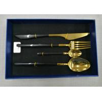 Color - plated Stainless Steel Flatware Sets of 4 Pieces Black Handles Gold