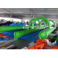 PVC Tarpaulin Inflatable Slip Slide 300m Long Double Lanes Inflatable Water City Manufactures