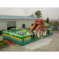 Durable 0.55 mm PVC Inflatable Funland Dinosaur Inflatable Play Park For Rental Manufactures
