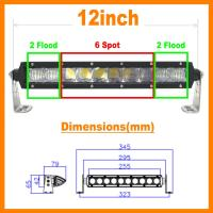 "13.5"" 5D 60W 5400lm Pro Optic Single Row LED Light Bar Spot Jeep 4WD BOAT ATV 40/42 Manufactures"