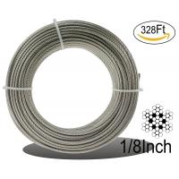 Stainless Aircraft Steel 7x7 Wire Rope Cable For Railing / Decking / Diy Balustrade, 1/8inch Manufactures