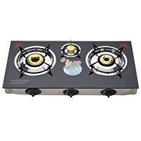 Tempered Glass Top 3 Burner Gas Stove , Table Top 3 Burner Gas Cooktop Manufactures