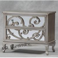 Luxury Glass Mirrored Night Stands Curved Flower Antique Silver Finish Manufactures