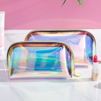 Wholesale Waterproof TPU Holographic Zipper Clear Cosmetic Bag Manufactures