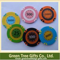14g 3 Color Crown Monte Carlo Clay Poker Chip With Gold Trim Sticker Manufactures