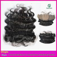 Buy cheap 8A Peruvian virgin hair silk lace frontal 13''x4'' ,natural color body wave 10'' from wholesalers