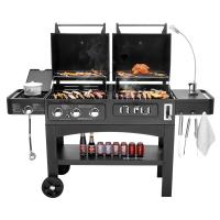 Flame Safety Commercial Kitchen Equipments Dual Fuel GAS / Charcoal BBQ Outdoor Combo Grills Manufactures