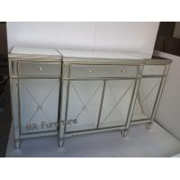 Quality Gold Mirrored Side Board Furniture 178 * 50 * 100cm Size Solid Wood for sale
