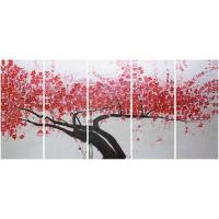 5 panel panoramic canvas prints with acrylic red plumblossom Manufactures