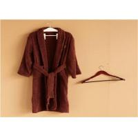 Hotel Kimono Collar Bathrobes Towel Soft Coral Velvet Dark Red Color Manufactures