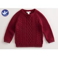 China Multi Cable Knitting Girls Long Sleeve Sweaters , Girls Red Sweater Side Slit on sale