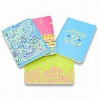 Art Paper Cover Notebooks with Sewing Binding and Style Printing, Available in Red, Green and Blue Manufactures