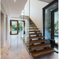 Indoor prefabricated stairs wooden floating stairs Manufactures