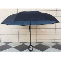 Quality Dual Layer Waterproof Reverse Folding Umbrella That Folds Upwards Fiberglass Ribs for sale
