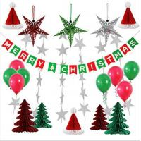 Paper Honeycomb Party Decorations Merry Christmas tree hat star balloon Bunting Banner Flag Manufactures