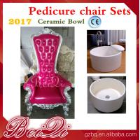 Quality 2017 hot sale king throne pedicure chair with round pedicure bowl , Pink spa pedicure chairs for sale for sale