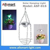Stainless Steel Flower Hanging Basket With Solar LED Light RGB Color Changing Wind Bell Lamp Red Green Blue LED Color Manufactures