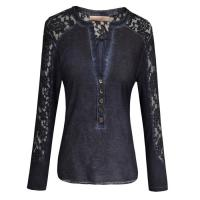 Long Sleeve ladies casual clothing Silk Navy Cotton Lace T Shirt Manufactures