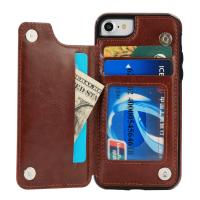 Brown Iphone6 / 6S Back Wallet Case , Two Card Slot Flip Vintage Wallet Case