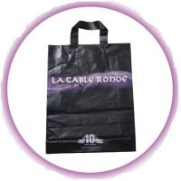Black Soft Flexible Loop Handle Plastic Bags With Custom Printing Manufactures