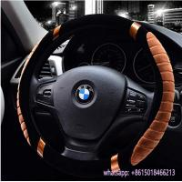 hot sell winter use warm fur car beige steering wheel cover for TOYOTA Manufactures