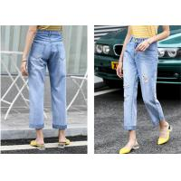 Buy cheap Straight Leg Light Wash Cotton Stretch Ladies Denim Jeans With Rips from wholesalers