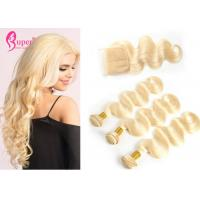 Buy cheap 613 Blonde Virgin Hair 2 Bundle Peruvian Hair With Lace Closure Body Wave from wholesalers