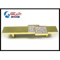 Square Crystal Drawer Handles , 96mm Arcylic Stone Gold Cabinet Pulls Gorgeous Golden Knobs Manufactures