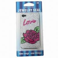 Crystal case for iPhone, romantic rose design, available with plastic case, safe and non-toxic Manufactures