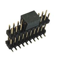 Double Plastic Rual Row Pin Header Connector SMT PA9T Black ROHS Manufactures
