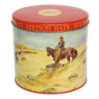 Stetson Hats Tin Container For Cookie Packaging , Food Grade Metal Box Optional Sizes Manufactures