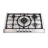 Stainless Steel Five Burner Gas Hob With Cast Iron Pan Supports / Auto Ignition Manufactures