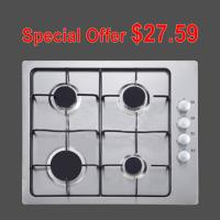 White 4 Burner Gas Hob Stainless Steel With Pulse Igniton Enamel Pan Support Manufactures