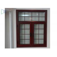 American Style Aluminium Casement Windows Grille Design Wood Grain Finish Manufactures