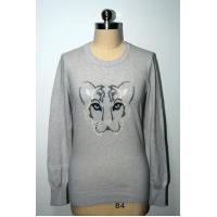 Pullover Leopard Pattern Sweater , Women'S Long Sleeve Sweaters 100% Cotton Manufactures