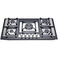 Full Black Tempered Glass / Stainless Steel Gas Hob With Cast Iron Pan Supports Manufactures