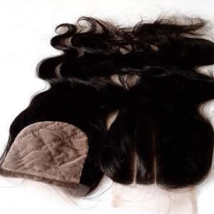 China 3 Way Part Silk Base Lace Closures,Unprocessed Natual Color,Brazilian Virgin Hair on sale